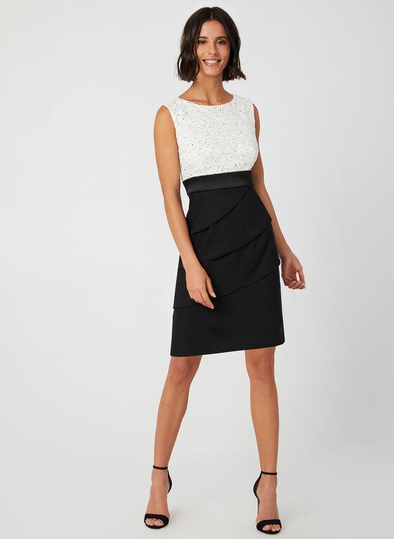 Robe bi-matière avec jupe étagée, Noir