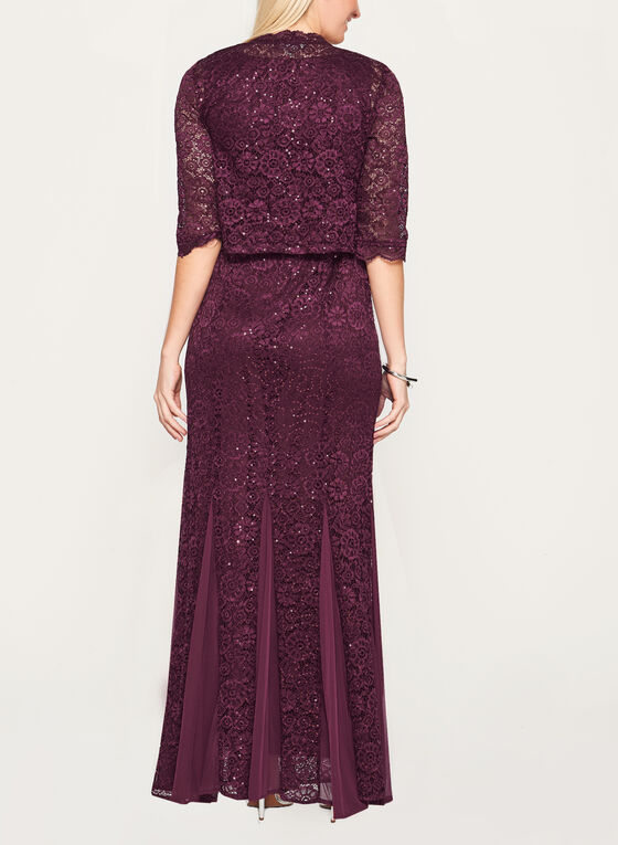 Sequin Lace Mermaid Dress with Bolero, Red, hi-res