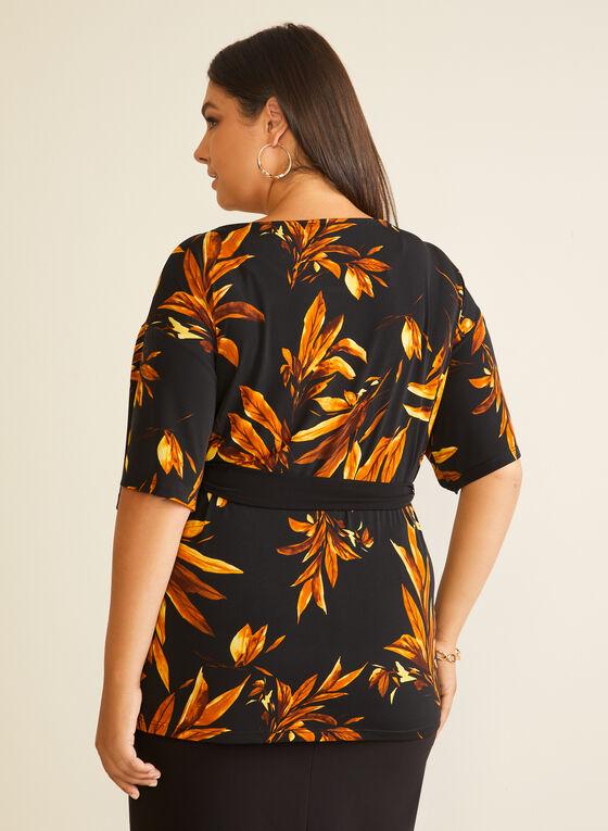Leaf Print Belted Top, Black