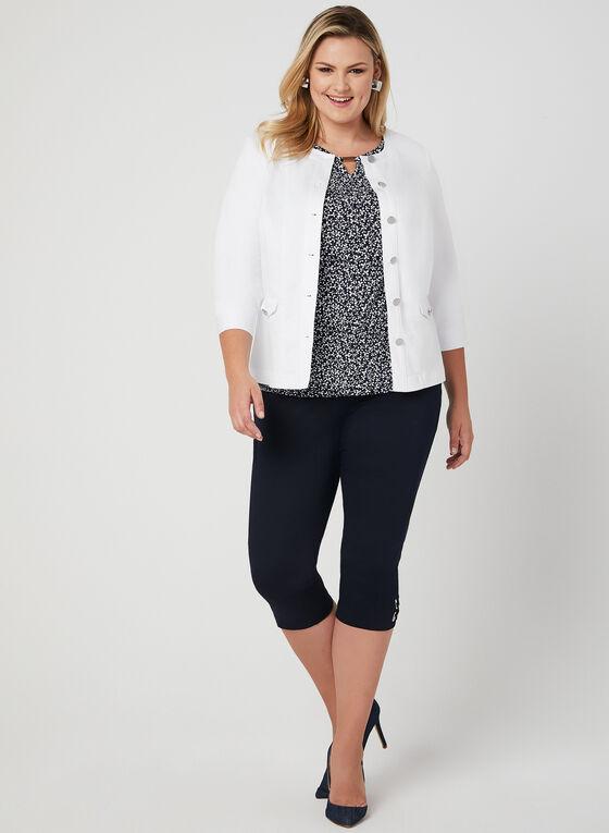 ¾ Sleeve Button Down Jacket, White, hi-res