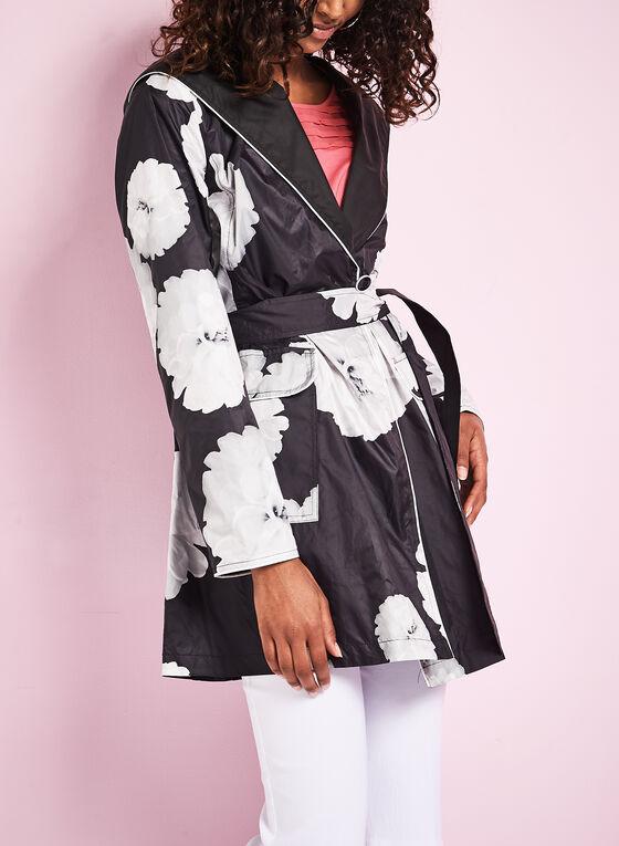 Novelti Reversible Floral Print Raincoat, Black, hi-res