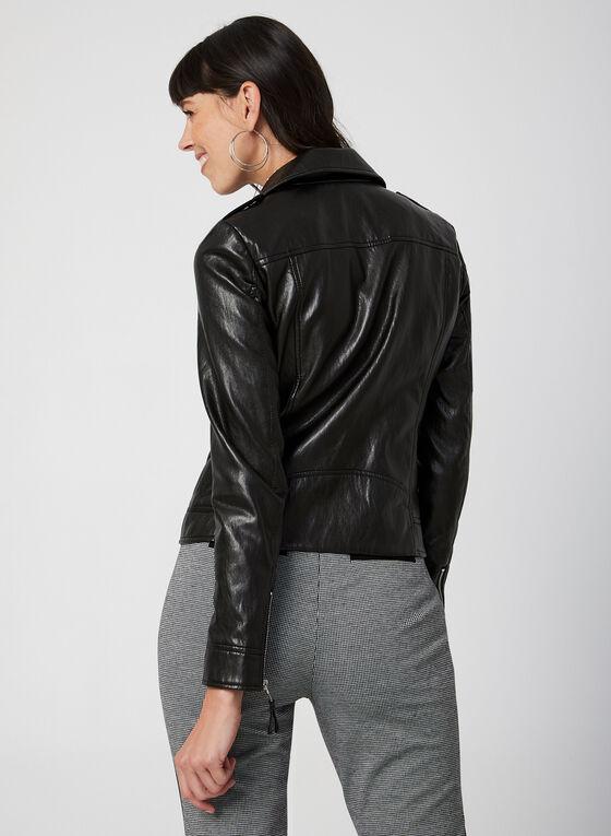 Faux Leather Moto Jacket, Black, hi-res