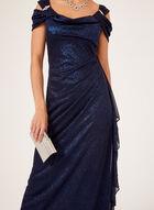 Robe de soirée brillante à col drapé et cristaux, Bleu, hi-res