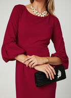 Balloon Sleeve Crepe Dress, Red, hi-res