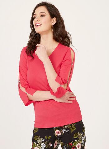 T-shirt en coton mélangé à manches ¾ fendues, Rose, hi-res