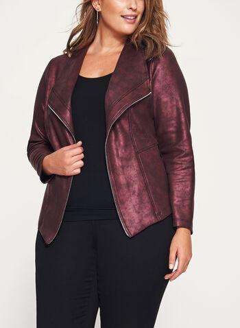 Blazer ouvert aspect cuir et détail zip, Rouge, hi-res