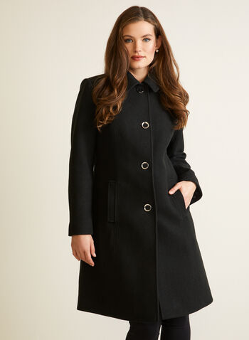 Stretch Faux Wool Structured Coat, Black,  fall winter 2020, faux wool, stretchy, wool like, shirt collar, stretch, princess seam, structured, button, satin lining, warm, winter