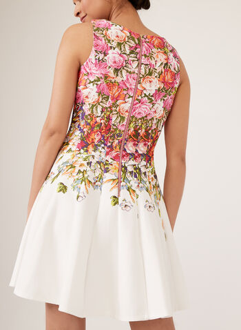 Floral Print Fit & Flare Dress, Pink, hi-res