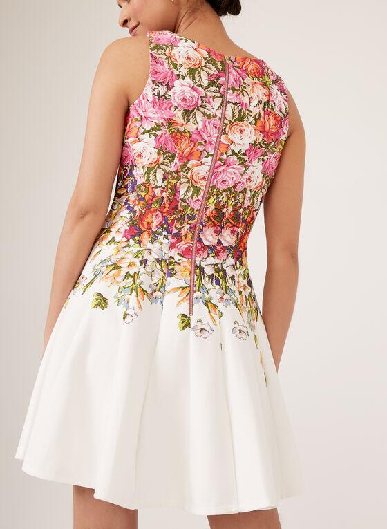 Robe florale évasée sans manches, Rose, hi-res