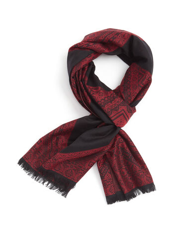 Fringed Aztec Print Scarf , Red, hi-res