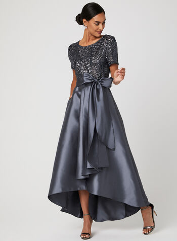 High Low Evening Dress, Grey, hi-res