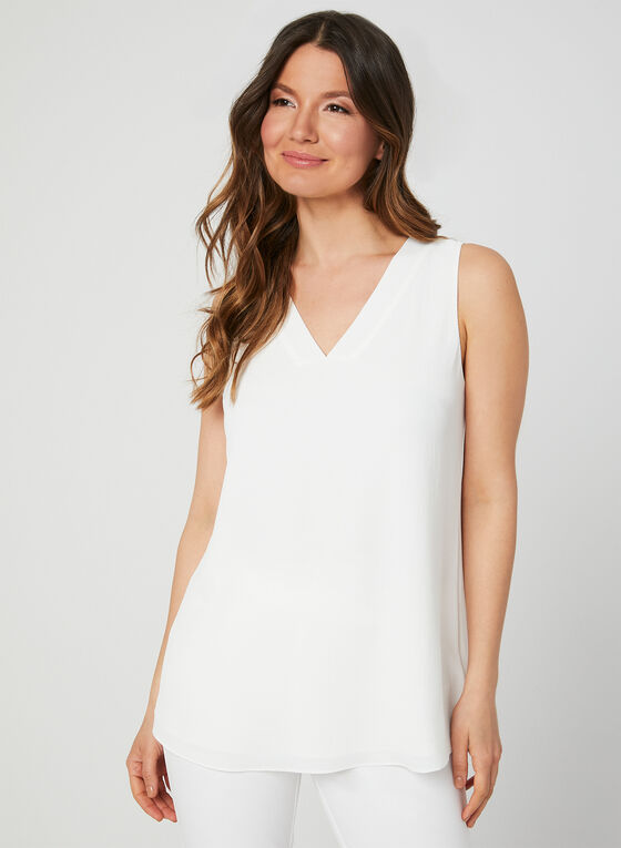 Sleeveless Crepe Top, Off White