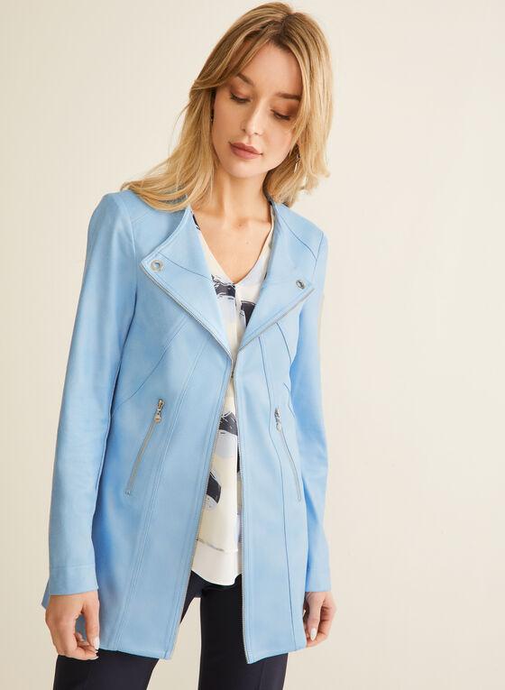 Vex - Faux Leather Redingote, Blue