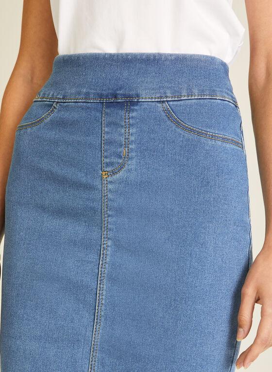 Blossom - Pull-On Denim Straight Skirt, Blue