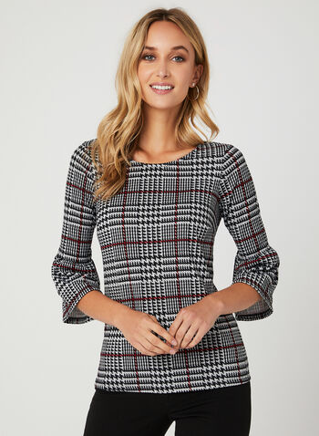 Glen Check Print Bell Sleeve Top, Black, hi-res
