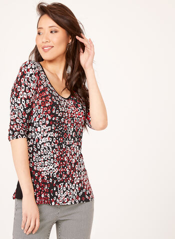 Geometric Print 3/4 Sleeve Top, Black, hi-res