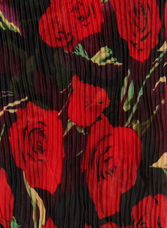 Foulard carré plissé avec motif de roses, Noir, hi-res
