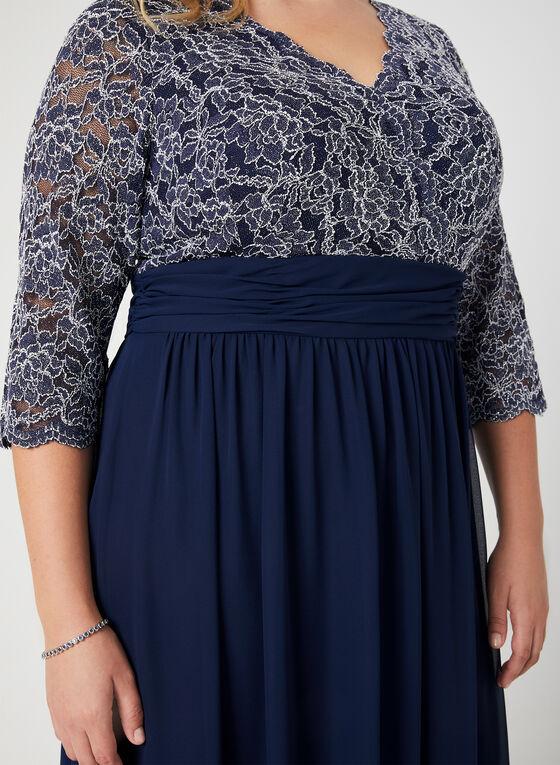 Chiffon Empire Waist Dress, Blue, hi-res