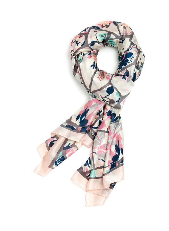 Foulard mosaïque de fleurs, Rose, hi-res