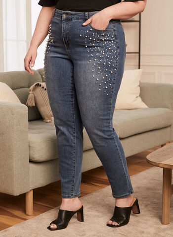 Pearl Embellished Straight Leg Jeans, Blue,  jeans, denim, pearl, pockets, stretchy, straight leg, fall winter 2020