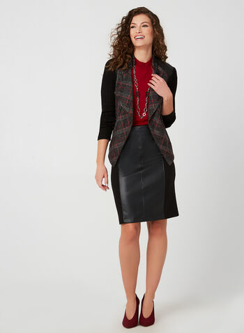 Vex - Plaid Print Jacket, Black, hi-res,  fall winter 2019, plaid print, faux suede, long sleeves