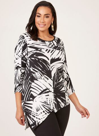 Asymmetric ¾ Sleeve Blouse, Black, hi-res