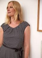 Polka Dot Print Dress, Black