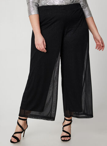 Modern Fit Wide Leg Pants, Black, hi-res,  Canada, pants, wide leg, Modern Fit, glitter, mesh, fall 2019, winter 2019