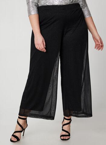 Modern Fit Wide Leg Pants, Black,  Canada, pants, wide leg, Modern Fit, glitter, mesh, fall 2019, winter 2019
