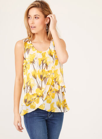 Sleeveless Layered Floral Chiffon Blouse, White, hi-res