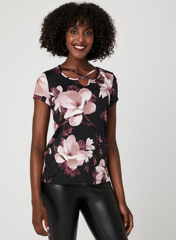 Floral Print Jersey Top, Black, hi-res