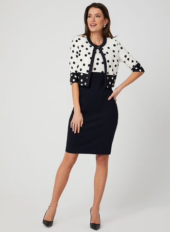 Dress & Jacket Set, Blue, hi-res,  Spring 2019, polka-dot, knit, day dress, sleeveless