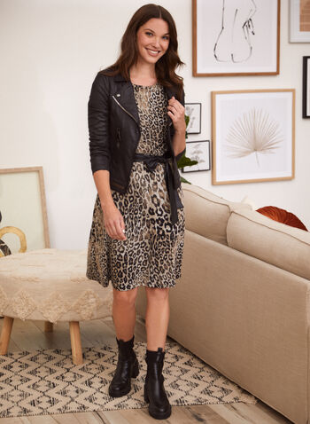 Leopard Print Dress, Black,  made in Canada, dress, day dress, boat neck, long sleeves, balloon sleeves, fit and flare, vegan leather, faux leather, leopard print, fall winter 2021