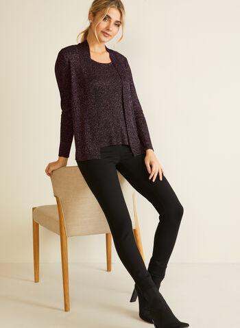 Metallic Knit Fooler Sweater, Purple,  fall winter 2020, two-piece effect, long sleeves, knit, sweater, metallic, fooler, holiday
