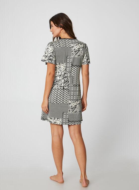 Hamilton - Chemise de nuit à imprimés variés, Noir