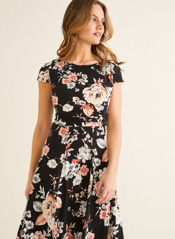 Cap Sleeve Fit & Flare Dress, Black,  spring summer 2020, jersey fabric, cap sleeves, fit & flare