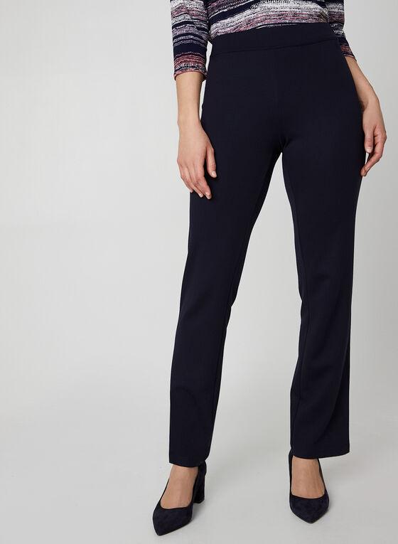 Pantalon coupe signature à jambe droite, Bleu