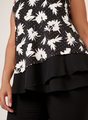 Sleeveless Dot Floral Print Blouse, Black, hi-res