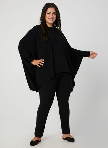 Joseph Ribkoff - Jersey Poncho Top, Black,  fall 2019, winter 2019, jersey, ¾ sleeves, scoop neck