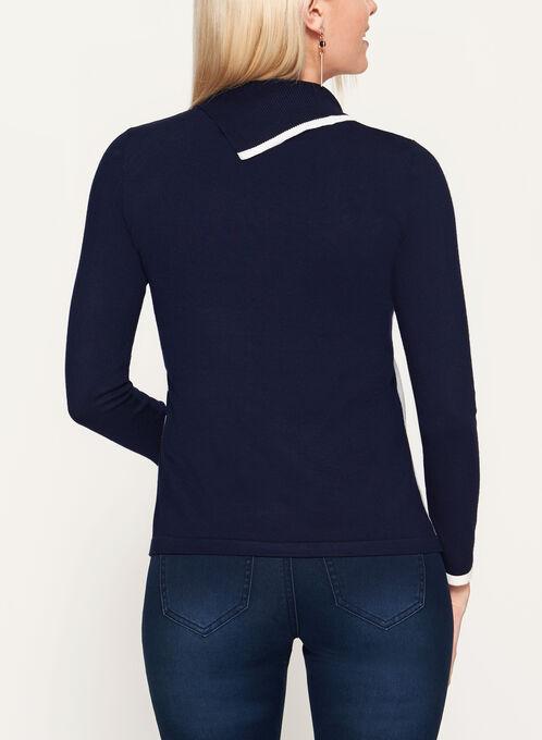 Colour Block Split Collar Studded Sweater, Blue, hi-res