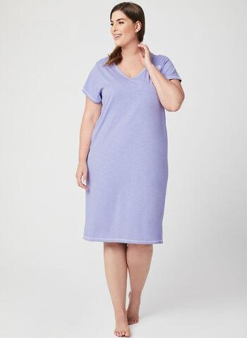 Bellina - Short Sleeve Nightgown , Purple, hi-res