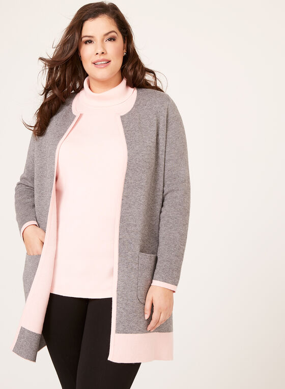 Contrast Double Knit Cardigan, Grey, hi-res