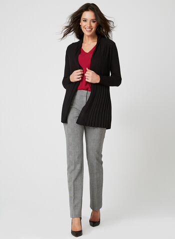 Ness - Cardigan long en tricot pointelle, Noir, hi-res