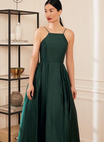 Apron Neck Satin Ball Gown, Green,  prom dress, ball gown, satin, apron neck, pockets, crinoline, sleeveless, spaghetti straps, spring summer 2021
