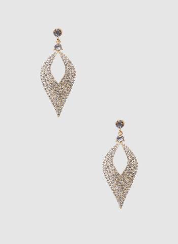 Boucles d'oreilles à pendants à cristaux, Or, hi-res,  ajour, gouttes, goutte, ajours, strass, métallique, automne hiver 2019