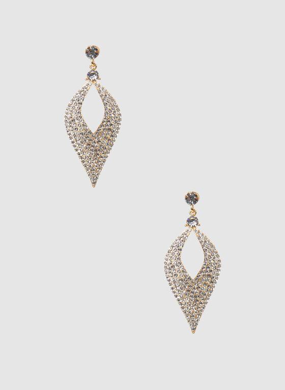 Boucles d'oreilles à pendants à cristaux, Or