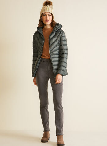 Bernardo - Chevron-Quilted Packable Coat, Green,  fall winter 2020, coat, quilted, Bernardo, packable, high collar, zipper, pockets