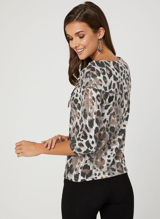 Haut motif léopard avec col à rabat, Noir, hi-res