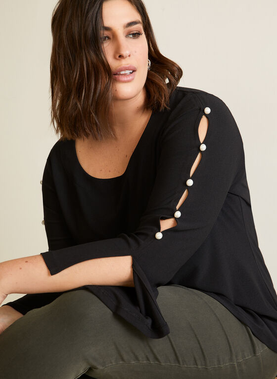 Pearl Button Detail Tunic, Black