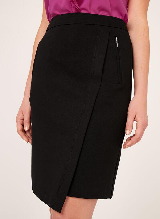 Faux Wrap Pencil Skirt, Black